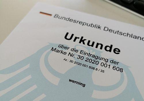 Urkunde der Bundesrepublik Deutschland zur Markeneintragung werning