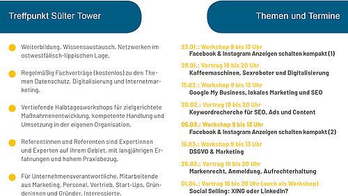 Flyerausschnitt Fachvortäge & Workshops 1. Halbjahr 2020 bei werning.com